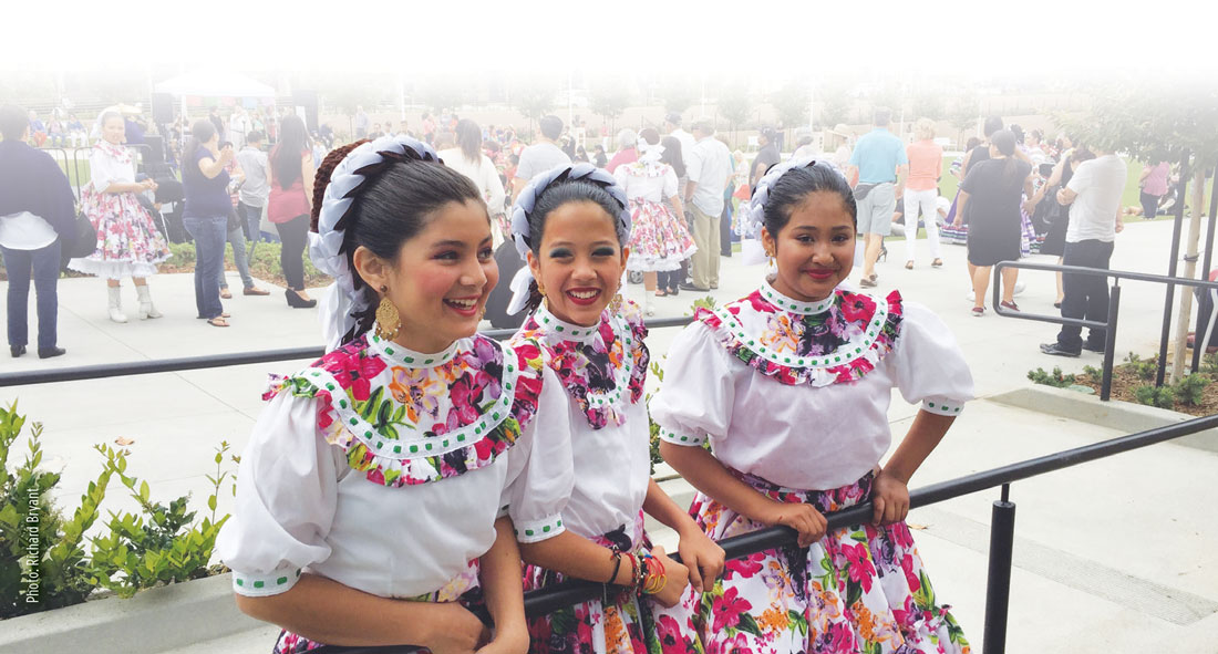 Three Smiling Ballet Folklorico Dancers